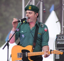 Downhere vocalist Marc Martel is pictured August 7 at the first Canadian Rock the River concert. Photo by Jeanne Kremmer.